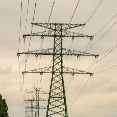 Row of electricity pylons